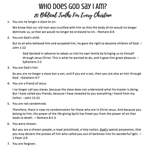 Who Does God Say I Am? 20 Biblical Truths For Every Christian Printable