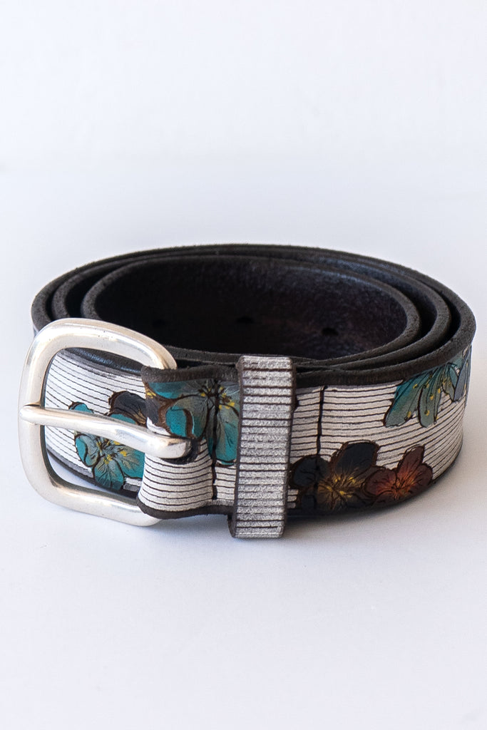 orciani white floral belt