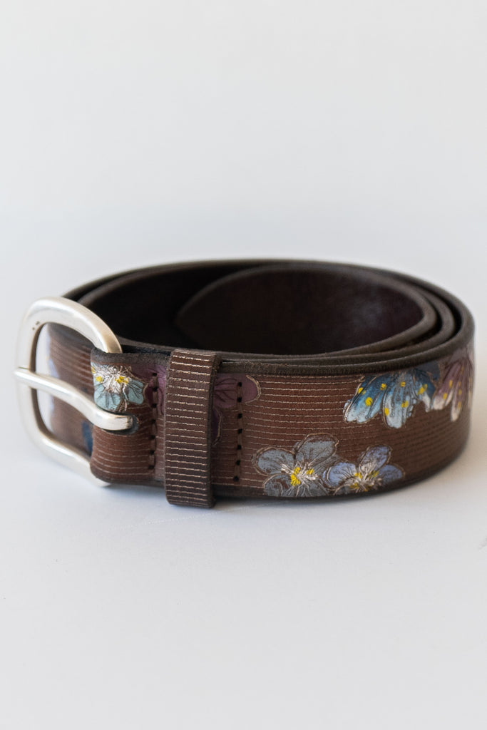 orciani cuoio floral belt