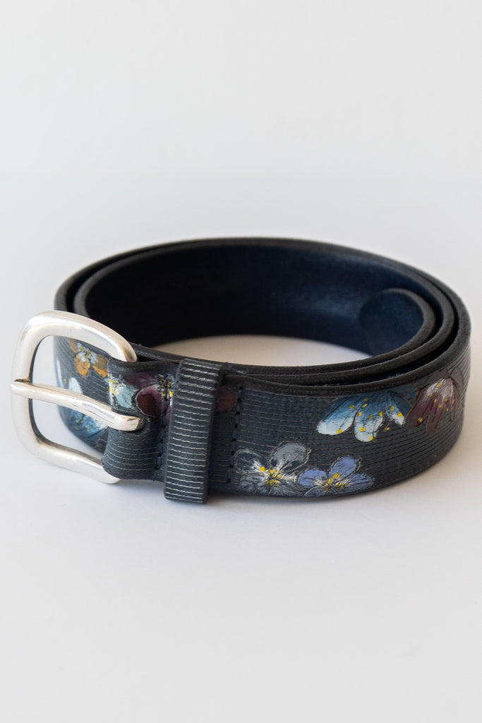 orciani blue floral belt
