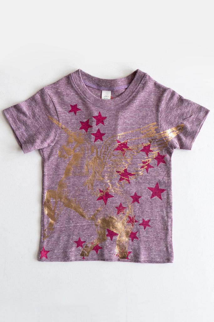 lucky fish purple wash unicorn tee