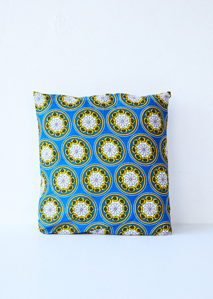Csao Blue/Yellow Floral Circles Pillow