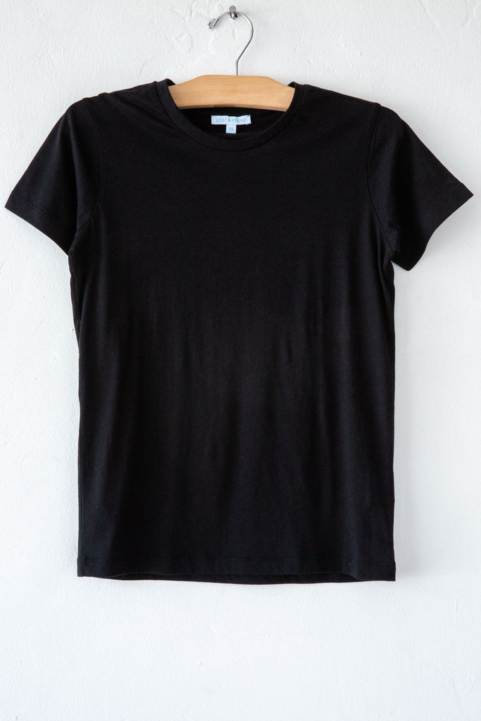 lost & found black super fine jersey short sleeve small tee