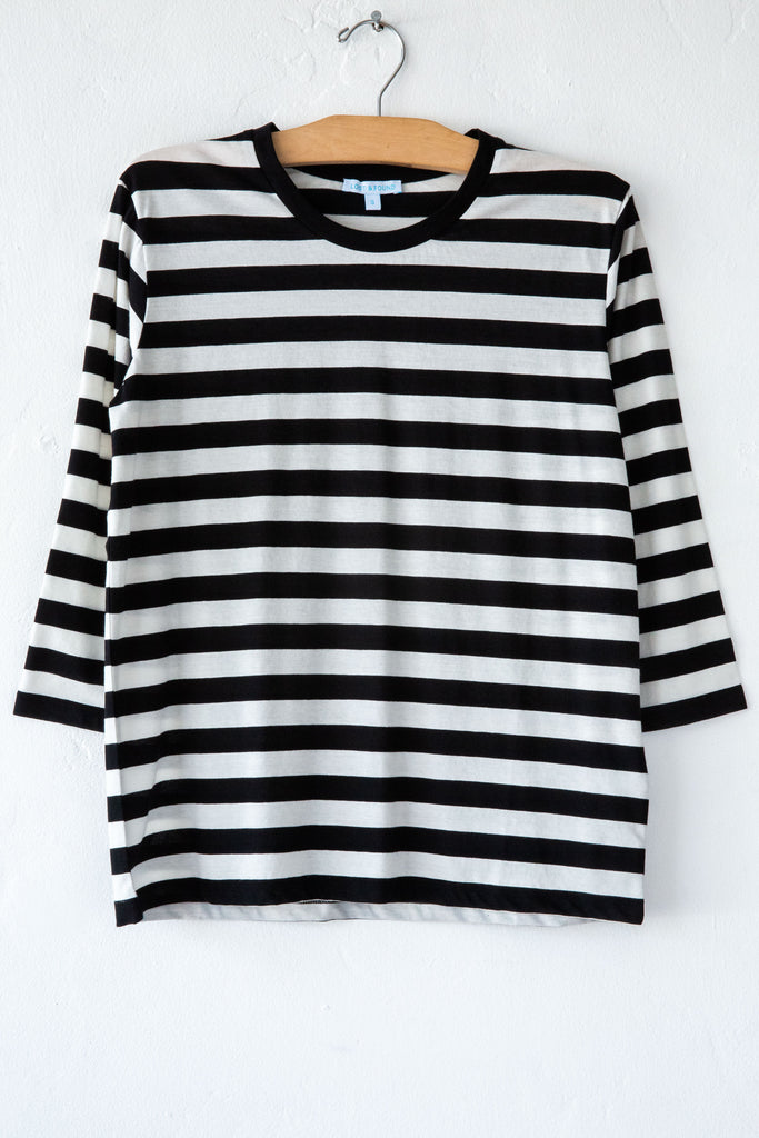 lost & found super fine black/white stripe 3/4 sleeve tee