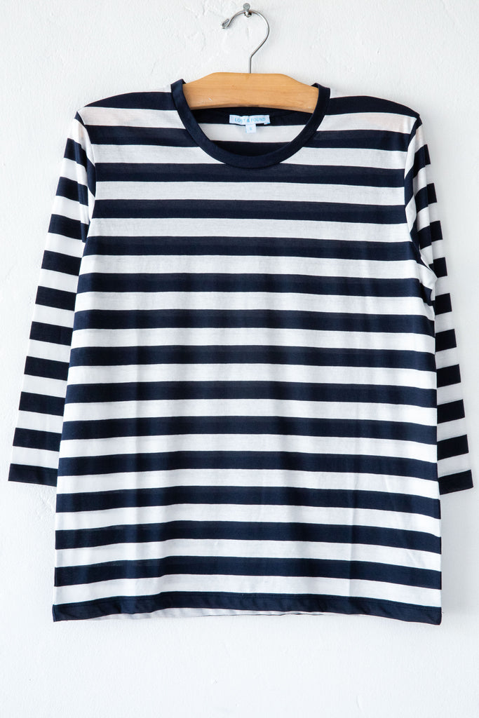 lost & found super fine navy white stripe 3/4 sleeve tee
