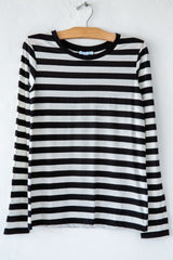 lost & found super fine black/white stripe slim l/s sleeve tee