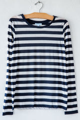 lost & found super fine navy/white stripe slim l/s sleeve tee