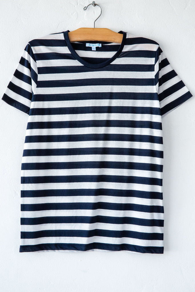 lost & found super fine navy/white stripe basic s/s tee