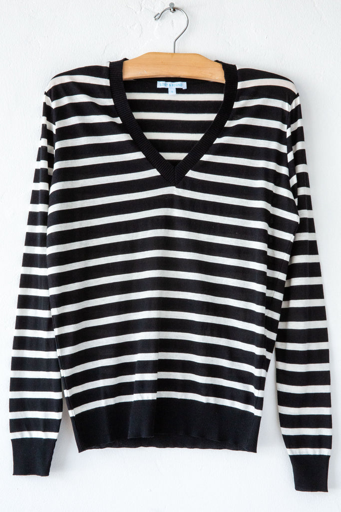 lost & found black/white stripe v neck sweater