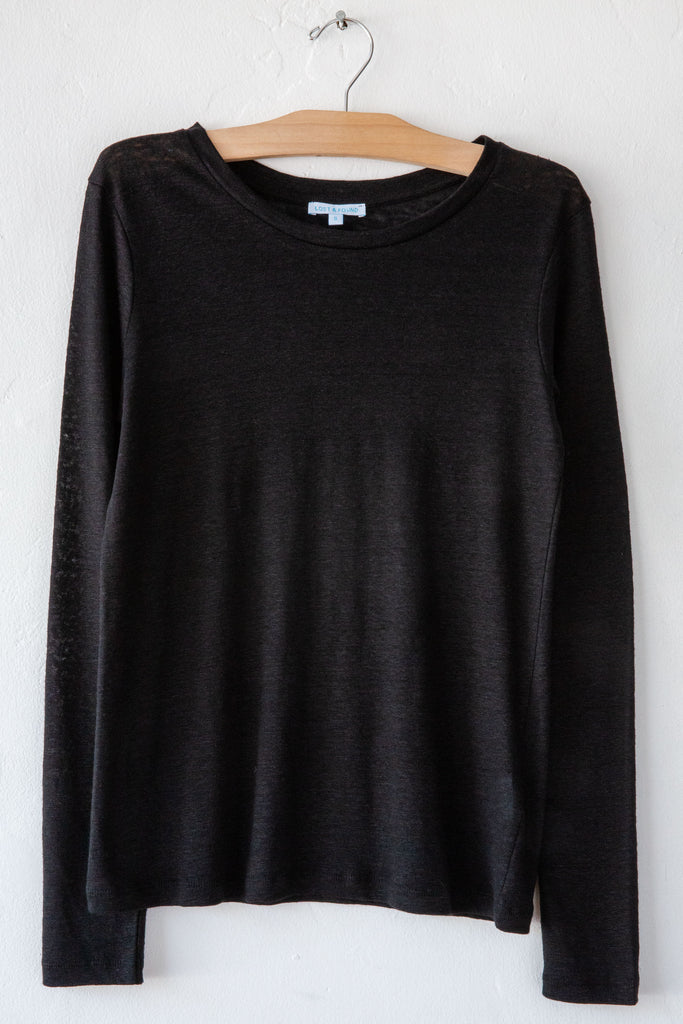 lost & found black linen slim long sleeve tee
