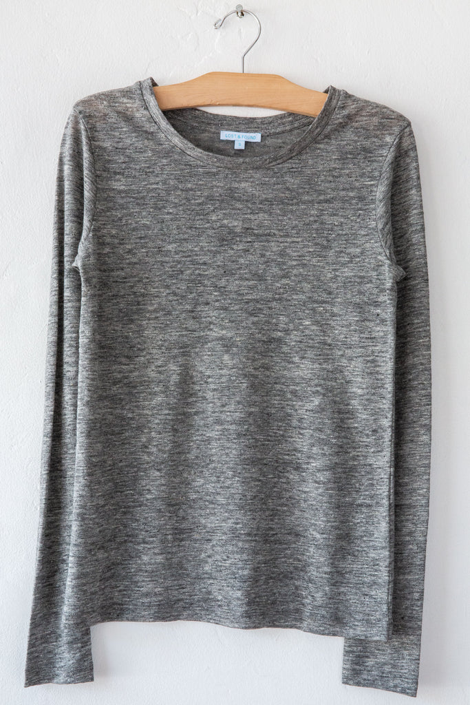 lost & found heather grey linen slim long sleeve tee