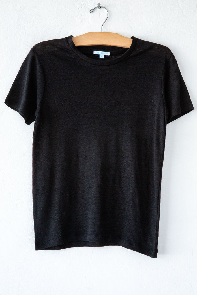 lost & found black linen small tee