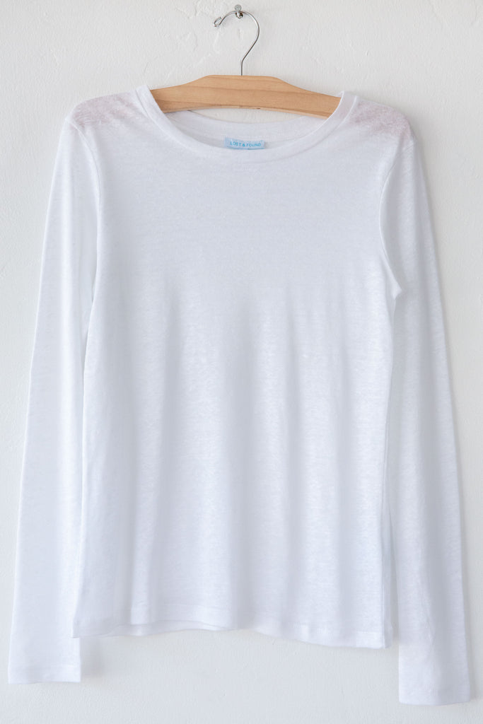 lost & found white linen slim long sleeve tee