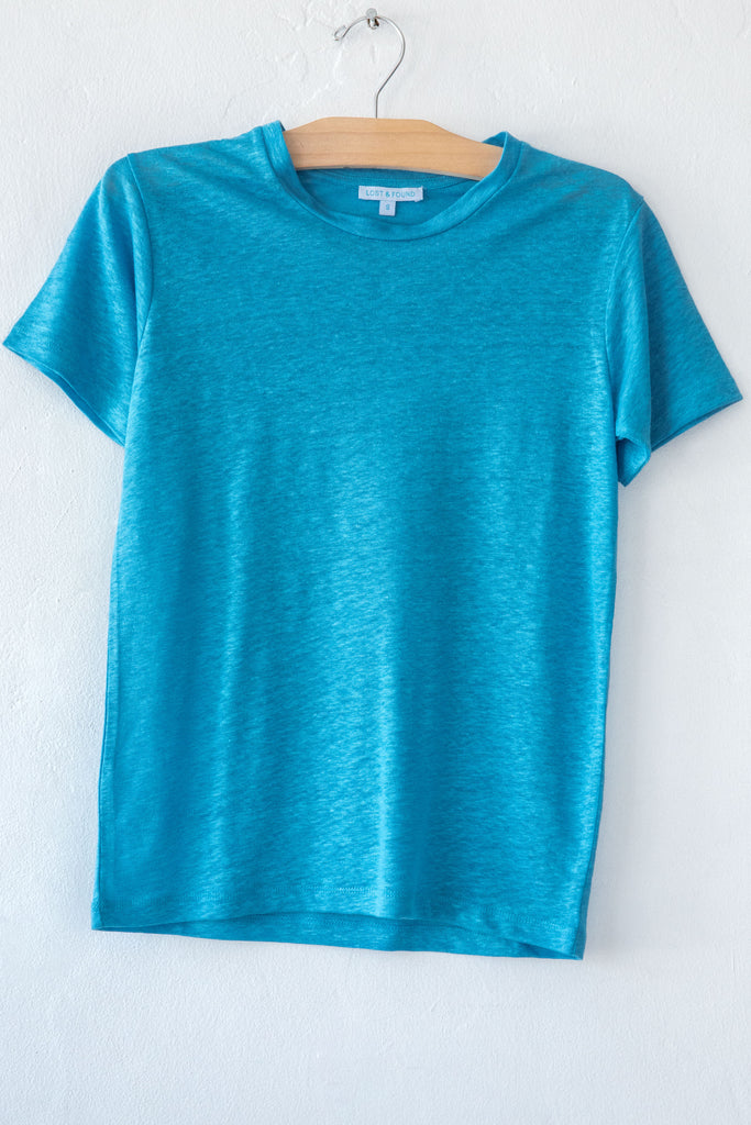 lost & found turquoise linen small tee