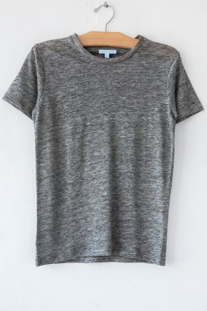 lost & found heather grey linen small tee