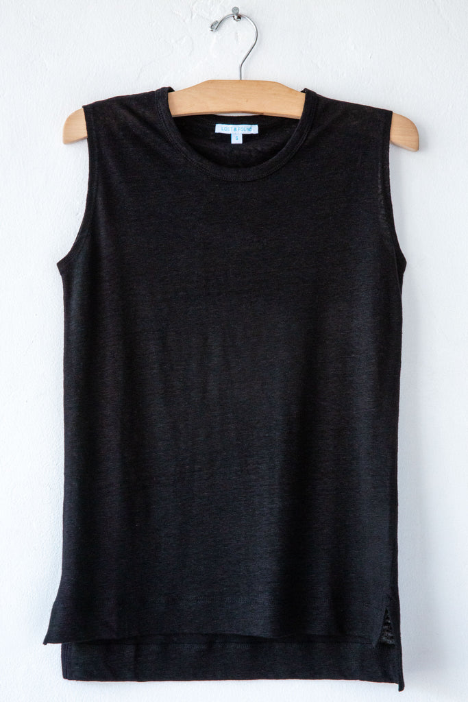 lost & found black linen sleeveless tee