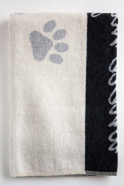 David Fussenegger Lt Grey Dog Paws Blanket