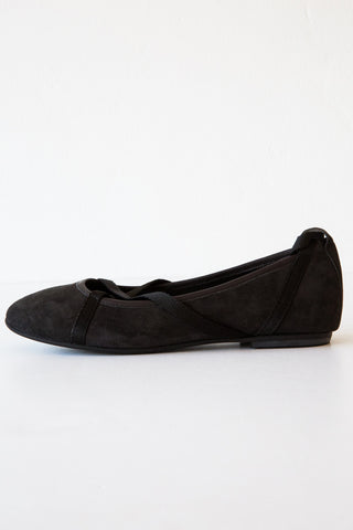 local grey/black suede glicene flat