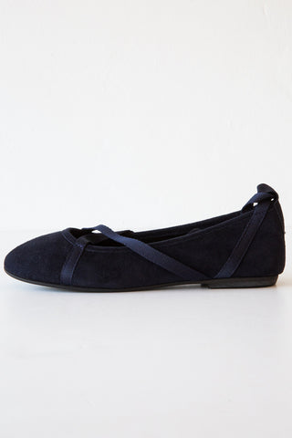 local navy suede glicene flat