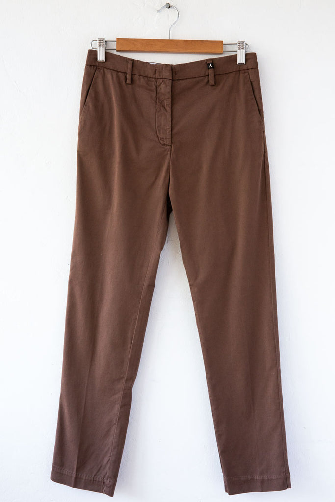 MYTHS Brown Slim Straight Trouser