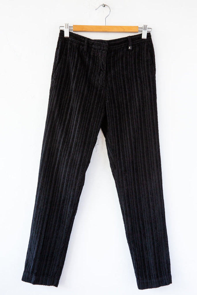 MYTHS Black Cord Straight Trouser