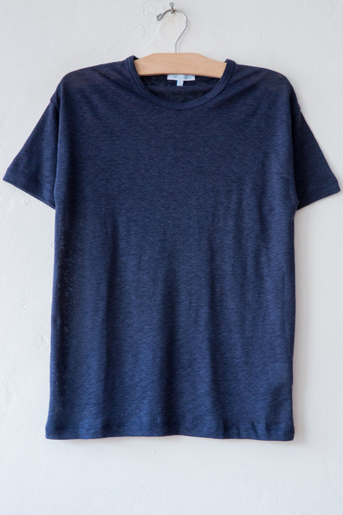 lost & found navy linen short sleeve tee