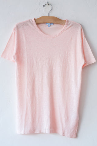 lost & found lt pink linen short sleeve tee
