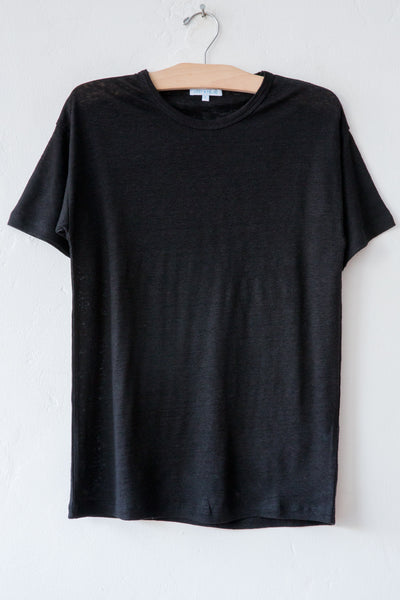 lost & found black linen short sleeve tee