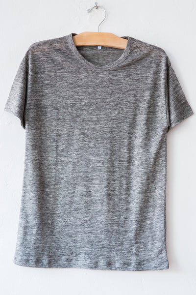 lost & found heather grey linen short sleeve tee