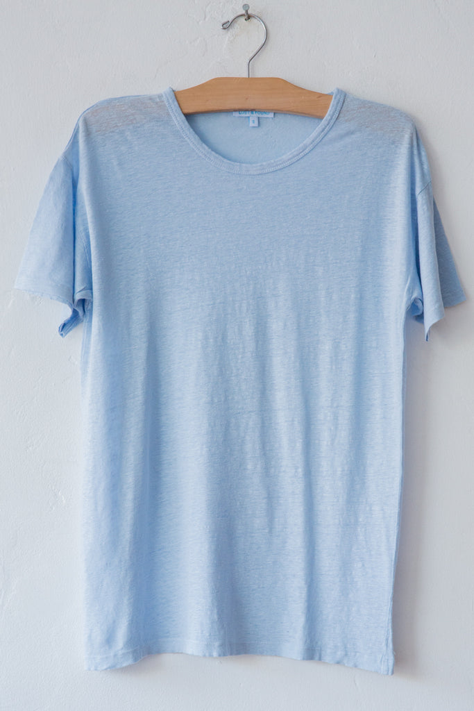 lost & found dust blue linen short sleeve tee
