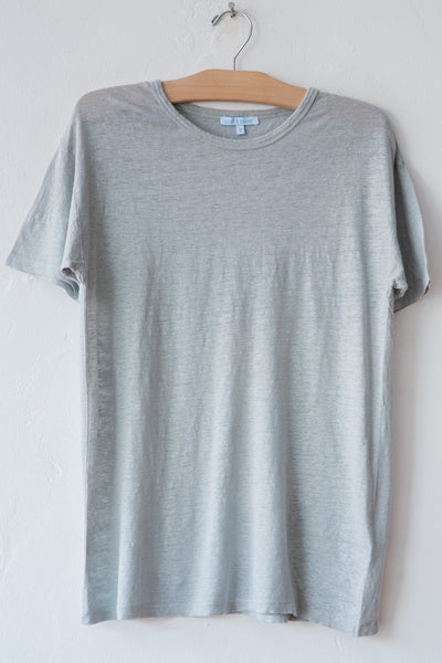 lost & found lt grey linen short sleeve tee