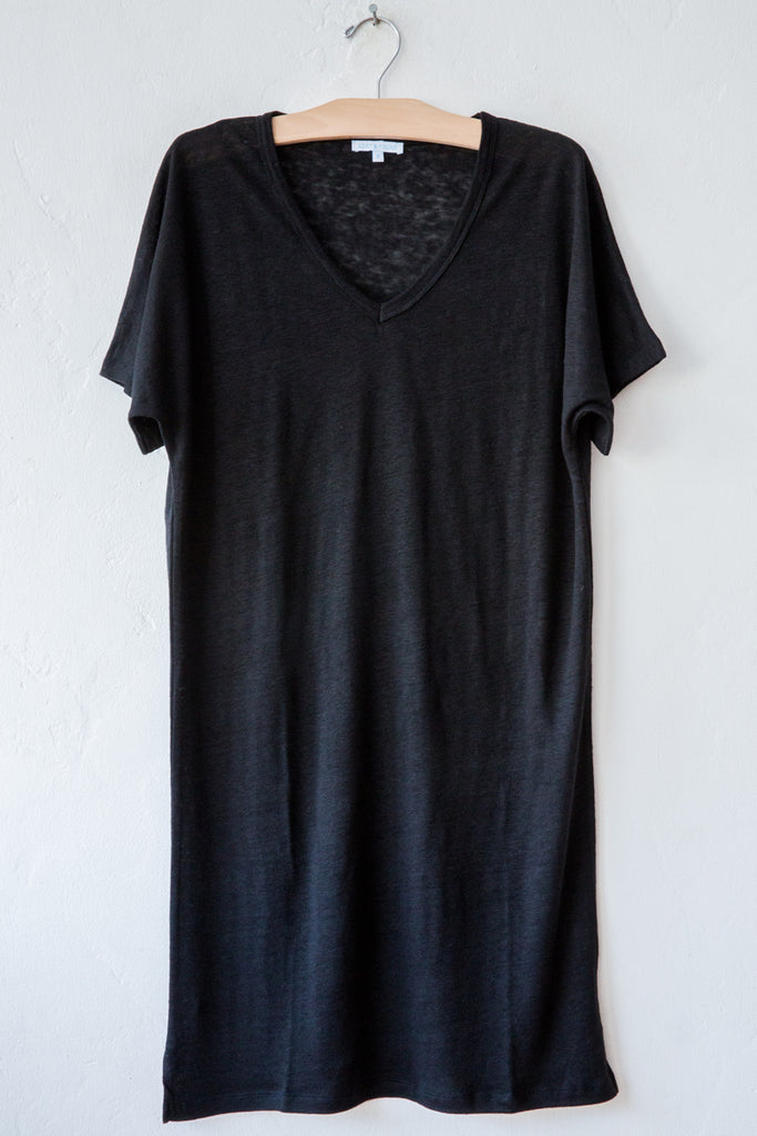 lost & found black linen short dress