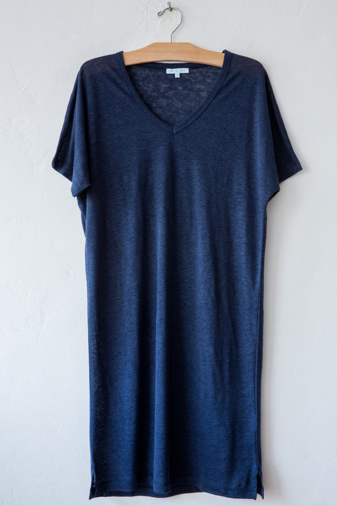 lost & found navy linen short dress