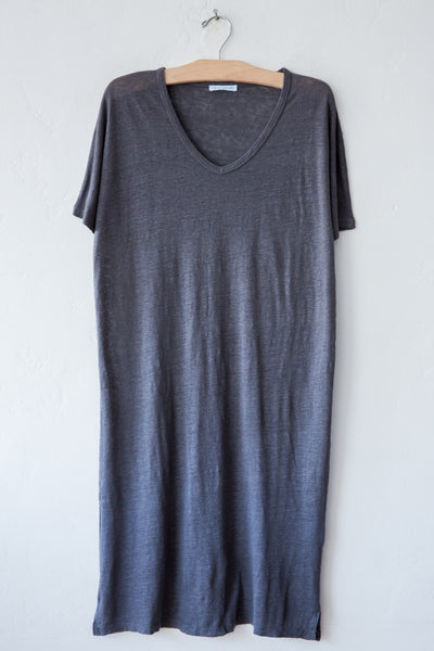 lost & found charcoal linen short dress