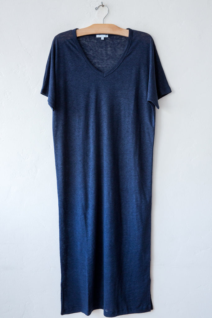 lost & found navy linen long dress