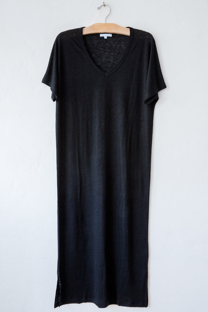 lost & found black linen long dress