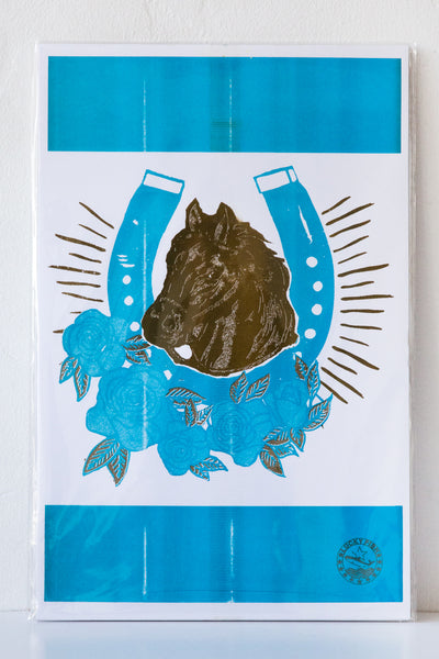 lucky fish horsey risograph print