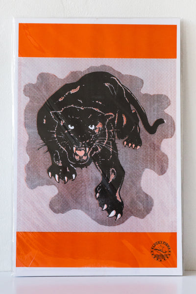 lucky fish panther risograph print