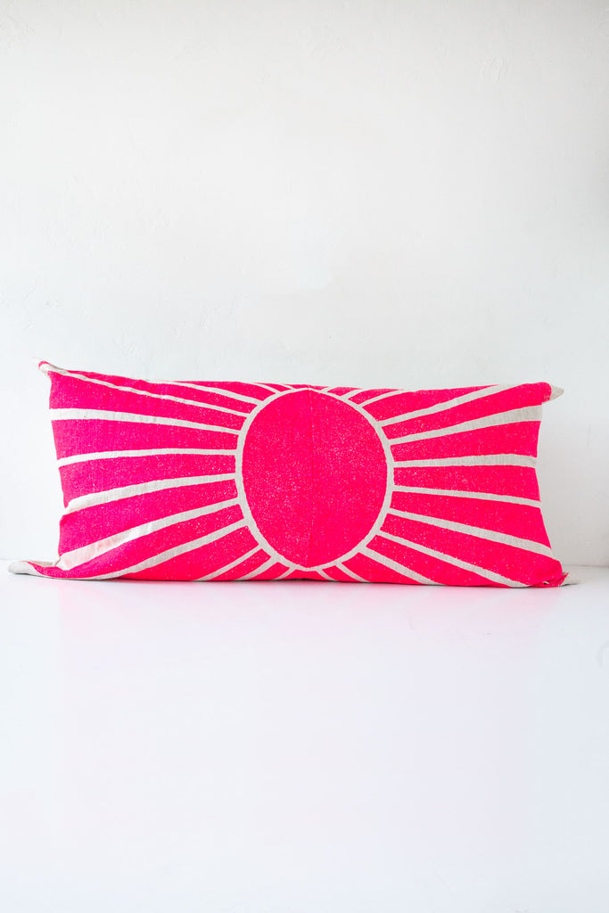 lucky fish pink sunset lumbar pillow