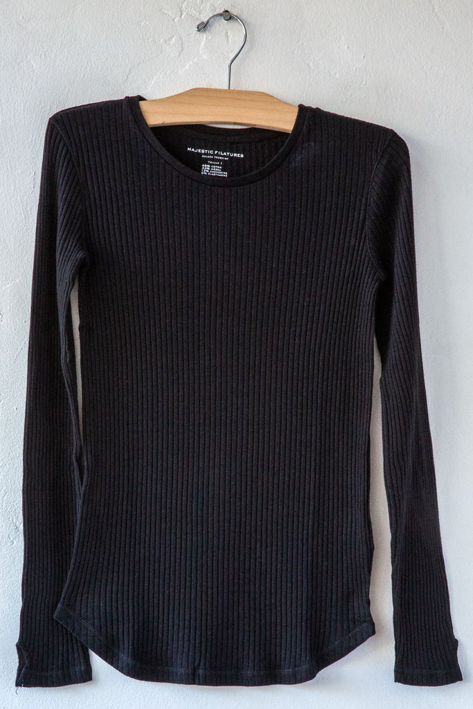 Majestic Noir Ribbed Crew Neck Sweater