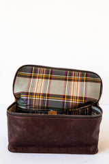 il bisonte brown beauty case/ dopp kit