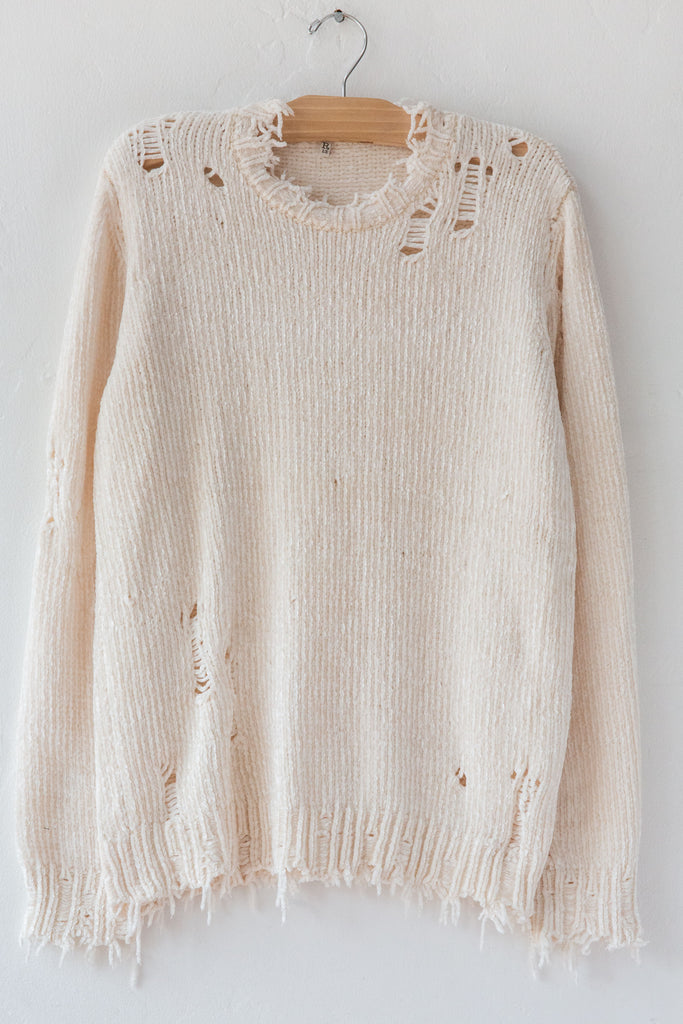 R13 Cream Chenille Distressed Crewneck Sweater