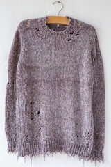 R13 Grey Chenille Distressed Crewneck Sweater