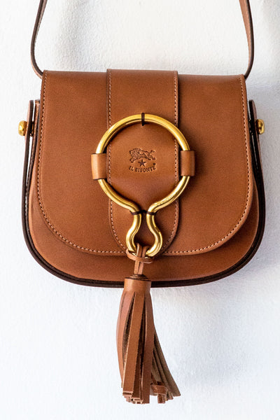 il bisonte lt brown small loop crossbody
