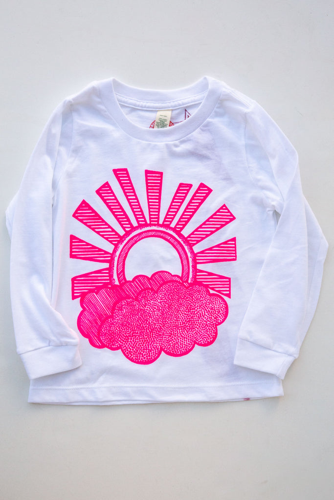 lucky fish white sunny day l/s tee