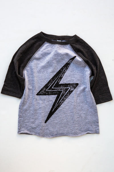 lucky fish heather grey thunderbolt baseball tee