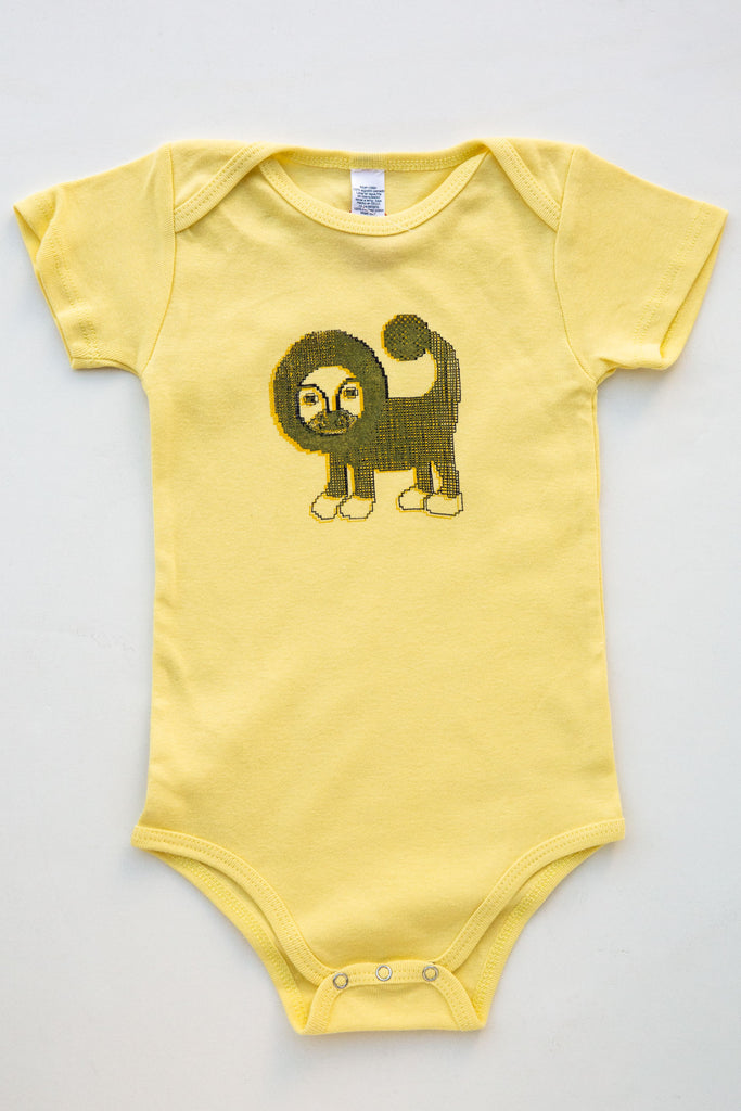 lucky fish yellow leo onesie