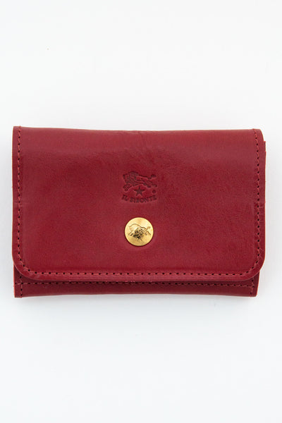 il bisonte red snap front card case