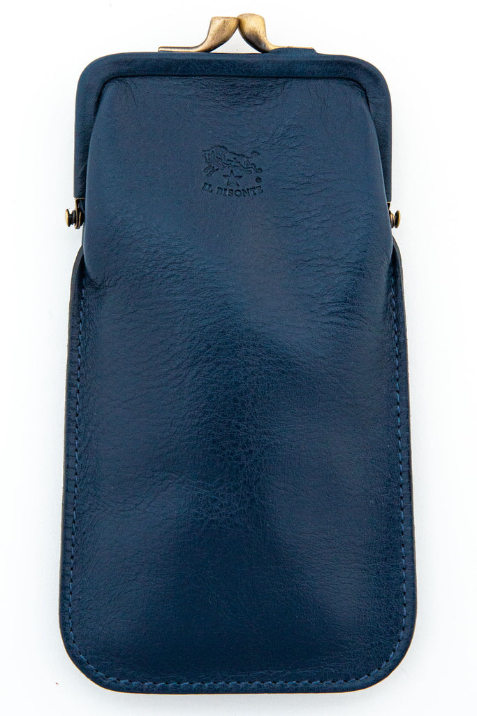 il bisonte blue snap top eye glass case