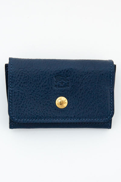 il bisonte blue snap front card case
